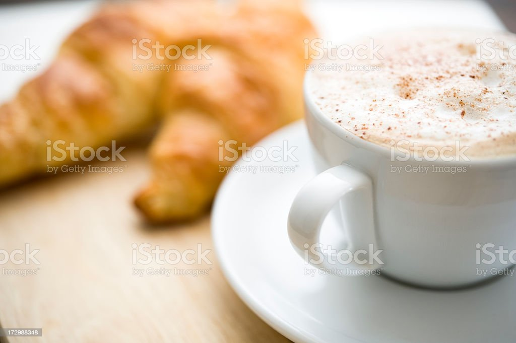 Cappuccino and Croissants stock photo