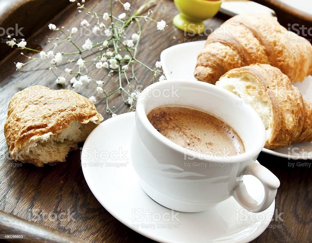 Cappuccino Coffee and Croissants,French Breakfast stock photo