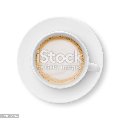Top view of a cappuccino coffee cup and saucer isolated on white (excluding the shadow)