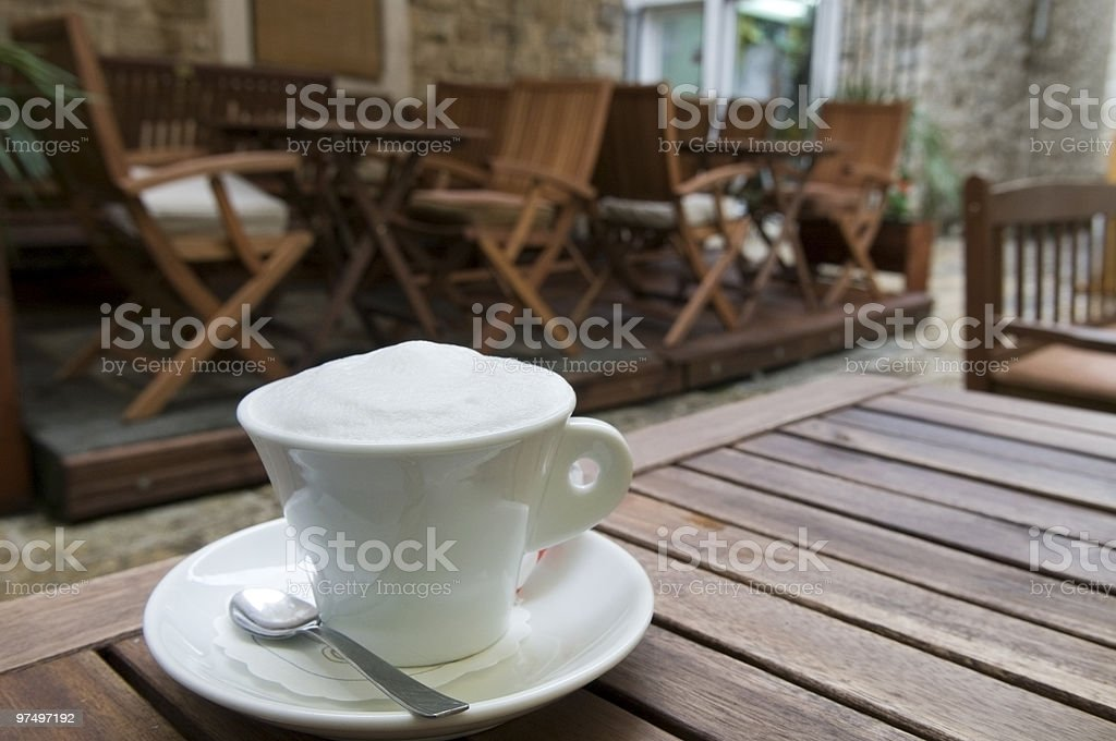Cappuccino coffee cup outdoor royalty-free stock photo