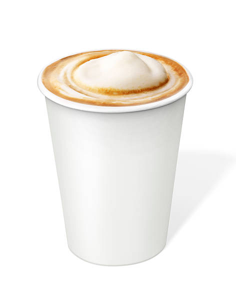 Cappuccino Coffee in disposable cup with clipping path Cappuccino Coffee in disposable cup  with clipping path disposable cup stock pictures, royalty-free photos & images