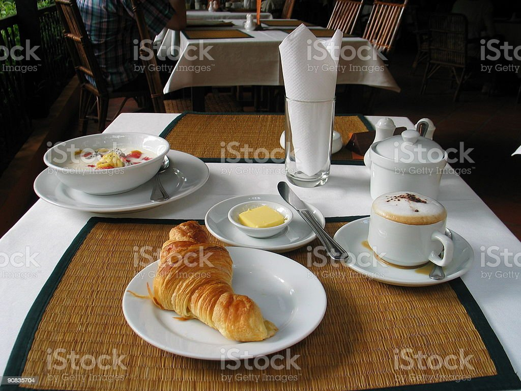 Cappuccino + Croissant - a delight! royalty-free stock photo
