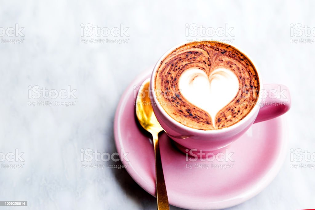 Cappuccino Cup With Heart Latte Art On Marble Table Background Stock Photo Download Image Now Istock