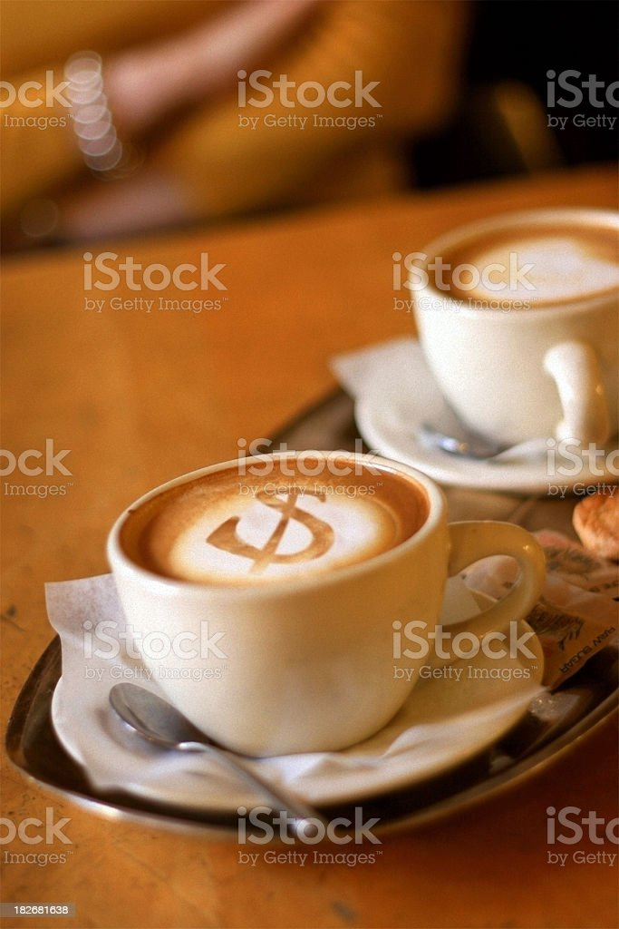 Cappuccino Foam Art - Dollar Sign royalty-free stock photo