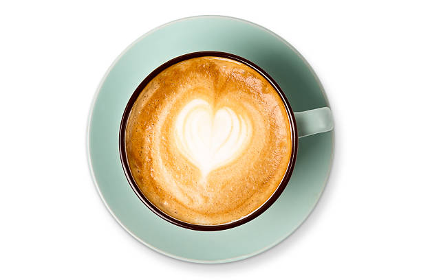 cappuccino foam, coffee cup top view on white background - porzellan druck stock-fotos und bilder