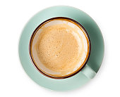 istock Cappuccino foam, coffee cup top view on white background 694485084