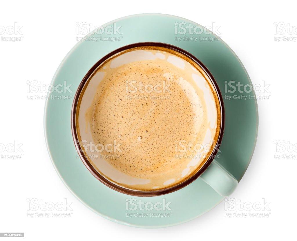 Espuma de capuccino, vista superior de café xícara sobre fundo branco - foto de acervo