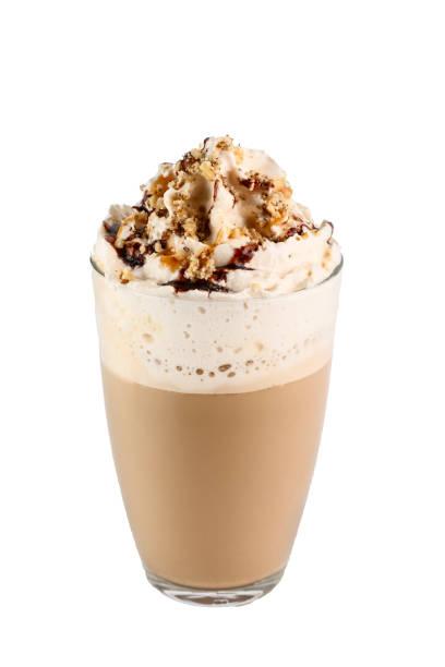 cappuccino in einem glas mit sahne - mocca stock-fotos und bilder