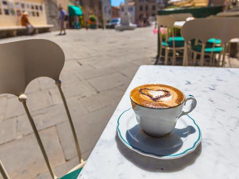 Cappuccino in an Italian Town.