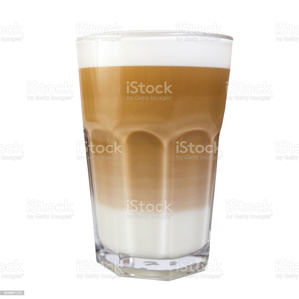 Cappuccino in tall cup with milk foam stock photo