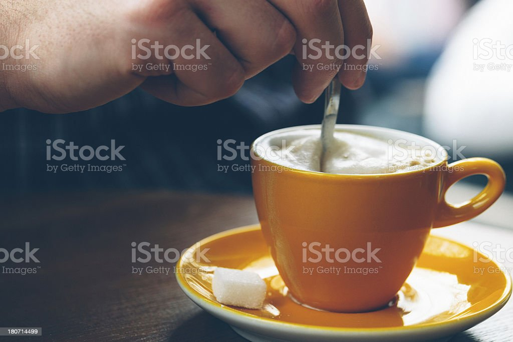 Cappuccino in Yellow Cup royalty-free stock photo