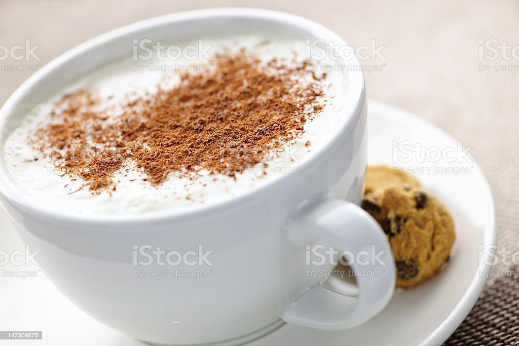 Cappuccino or latte coffee royalty-free stock photo
