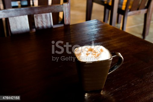 Cappuccino sitting on a coffee shop table