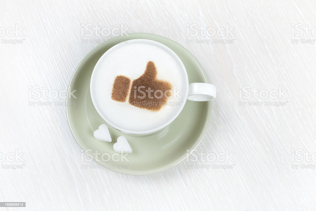 Cappuccino with cacao thumbs up royalty-free stock photo