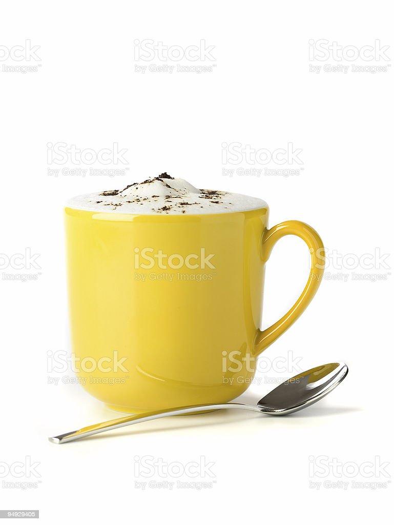 cappucino in yellow mug 2 royalty-free stock photo