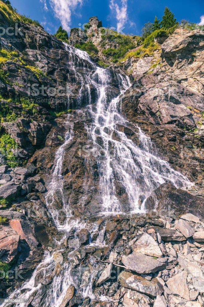 Capra waterfall in Fagaras mountains, Romania stock photo