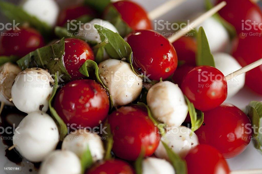 Caprese Appetizer on a stick stock photo