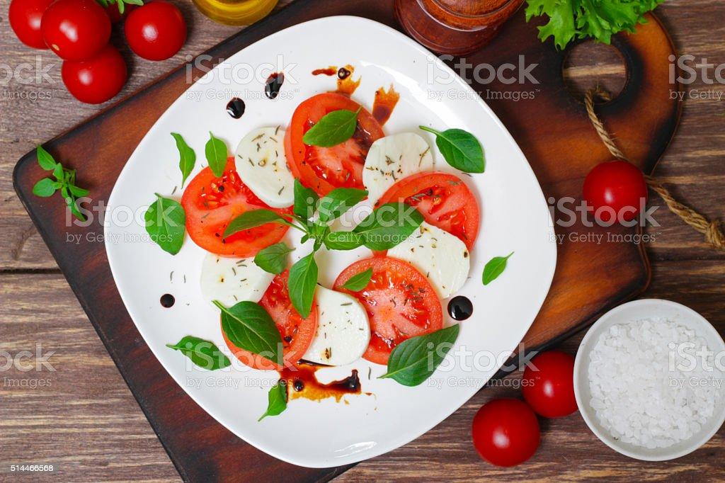 Caprese salad. Italian cuisine. Mediterranean cuisine. stock photo