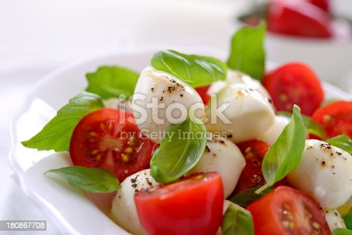 Caprese salad with mozzarella cheese,tomato,basil, olive oil and pepper
