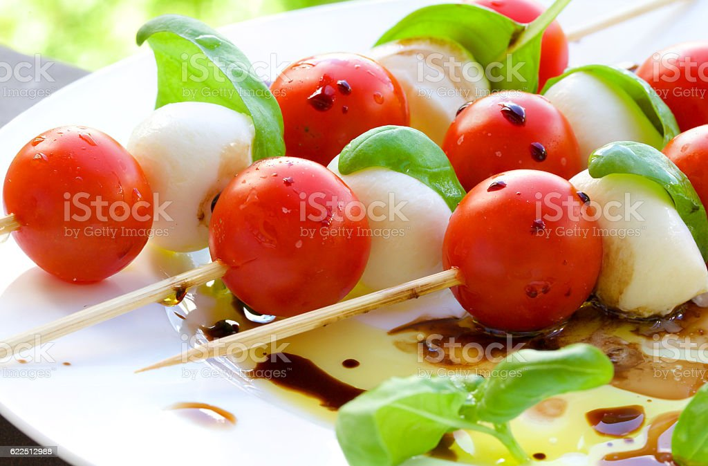 Caprese salad skewers stock photo