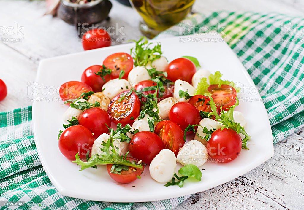Caprese salad tomato and mozzarella with basil and herbs stock photo