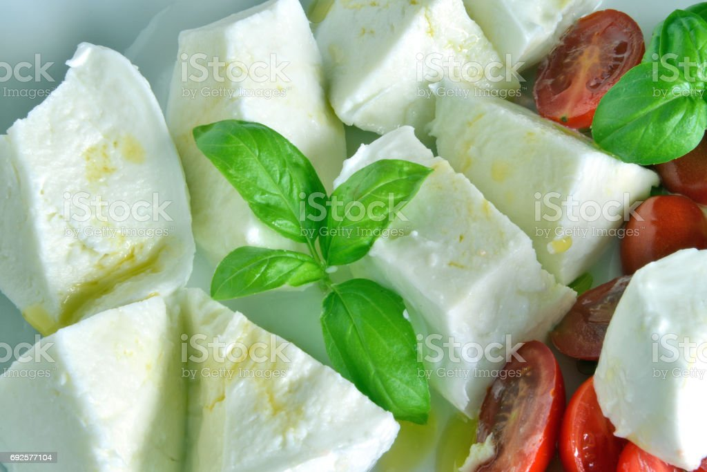 Caprese salad with buffalo mozzarella stock photo