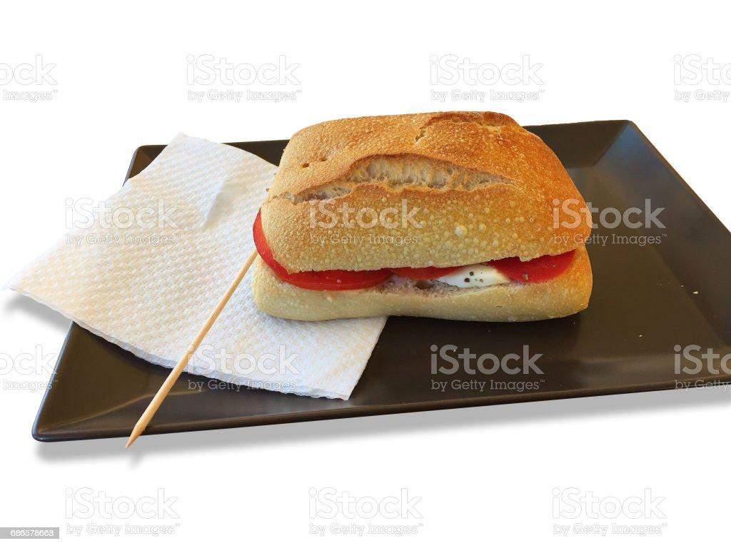 Caprese sandwich with mozzarella and tomato royalty-free stock photo
