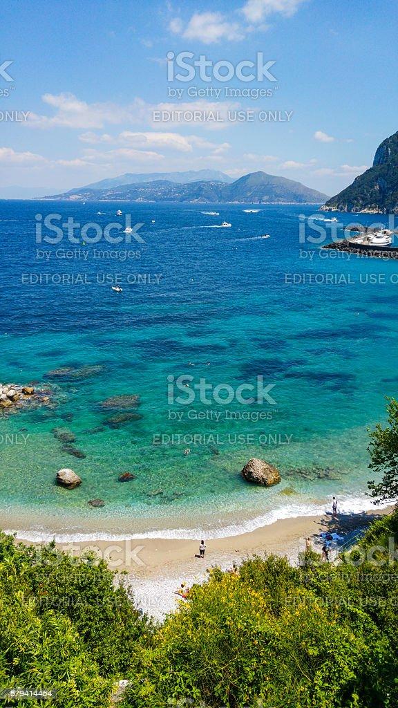 Capri Beach with People stock photo