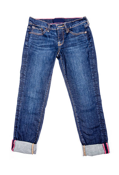 capri blue jeans isoliert - denim caprihosen stock-fotos und bilder
