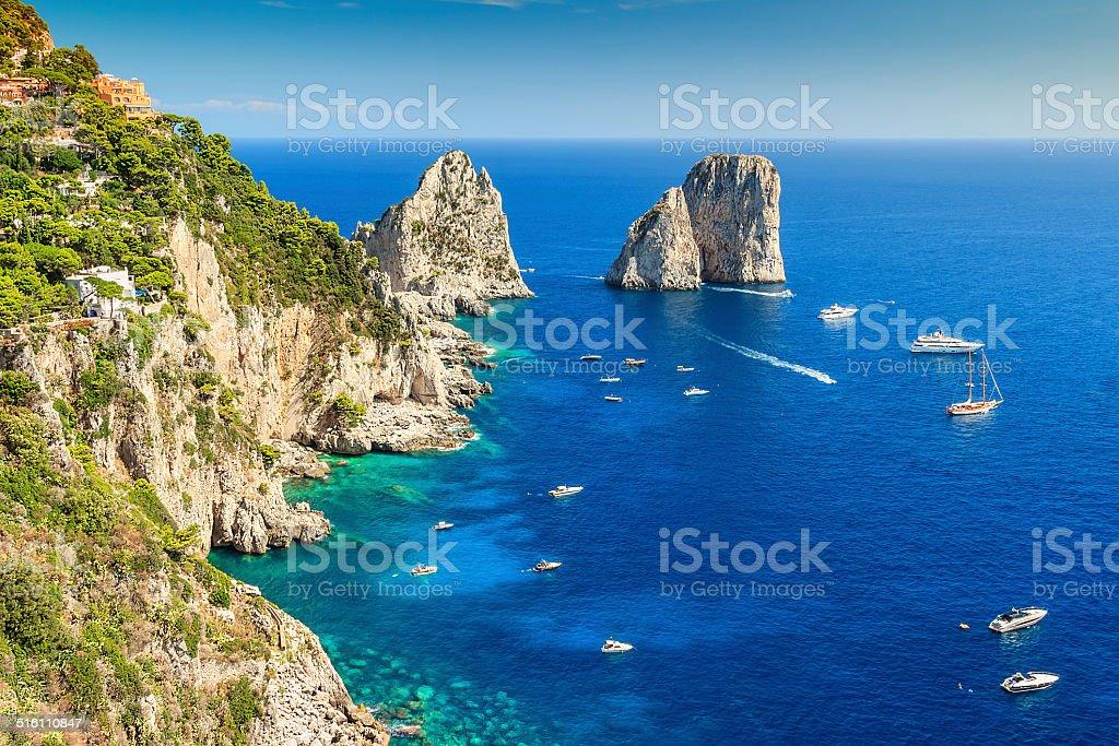 Capri island and Faraglioni cliffs,Italy,Europe stock photo