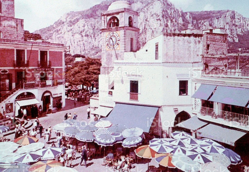 Capri island,Italy- 'the small square' in 1960. stock photo