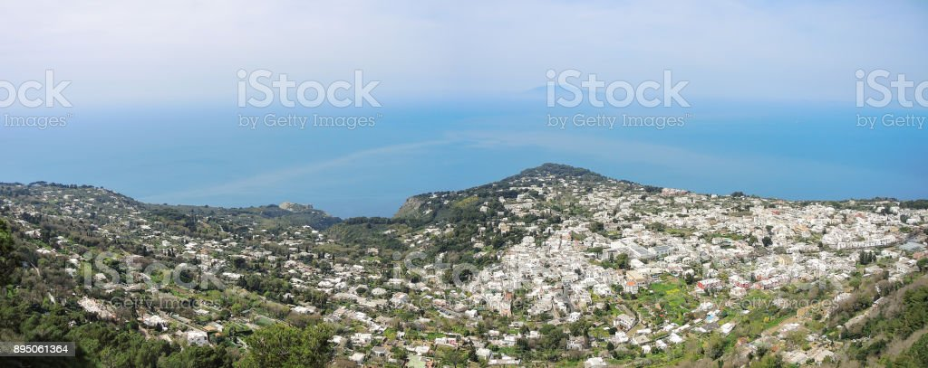 Capri, Naples, Italy. Great landscape from the summit of mount Solaro stock photo