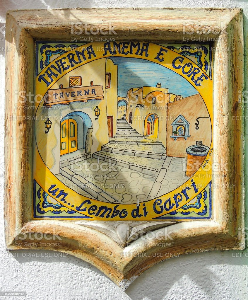 Capri, Naples, Italy. Hand painted ceramic tiles on the facade of the houses - foto stock