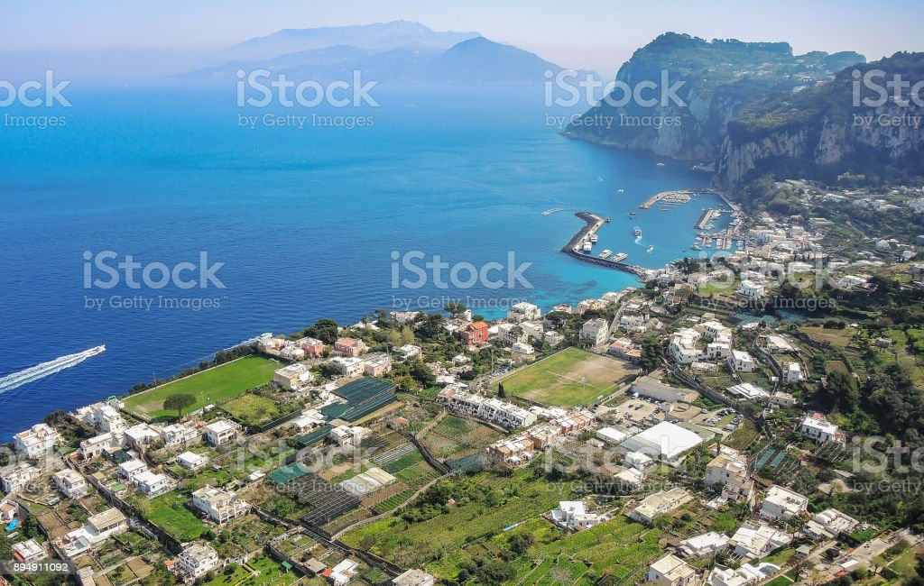 Capri, Naples, Italy. Superb landscape on the island and the harbor of the village Marina Grande stock photo
