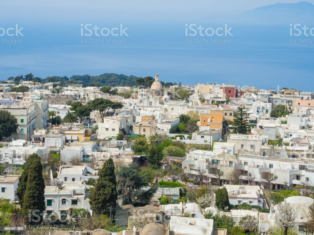 Capri, Naples, Italy. Views of the village of Anacapri from the chairlift stock photo