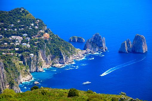 Capri island panorama from Monte Solaro, Faraglioni and Tyrrhenian sea, Bay of Naples, Italy.