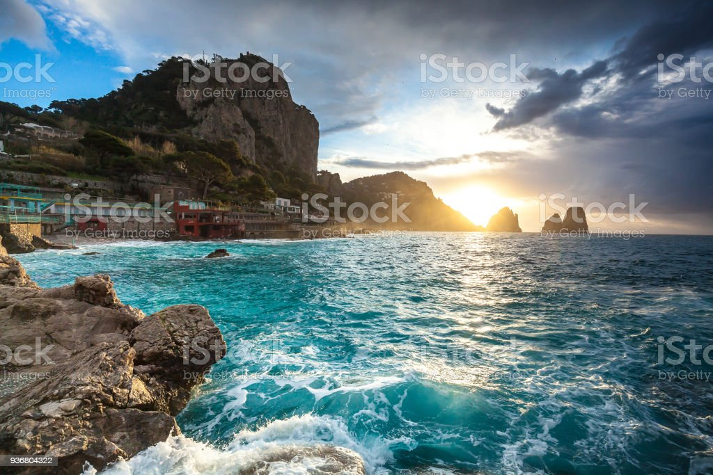 Capri sunrise stock photo