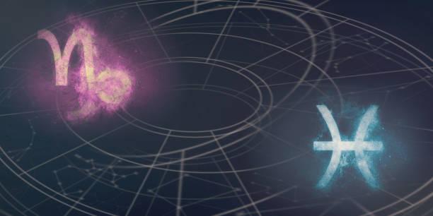 Steinbock und Fische Horoskop Zeichen-Kompatibilität. Nacht Himmel abstrakten Hintergrund. – Foto