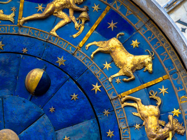 Capricorn astrological sign on ancient clock. Detail of Zodiac wheel with Moon and constellations. stock photo