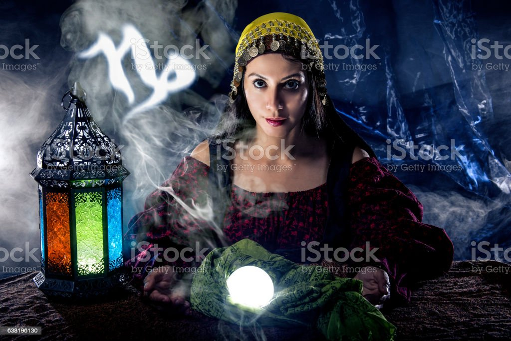 Capricorn Horoscope Zodiac Sign with Psychic or Fortune Teller stock photo