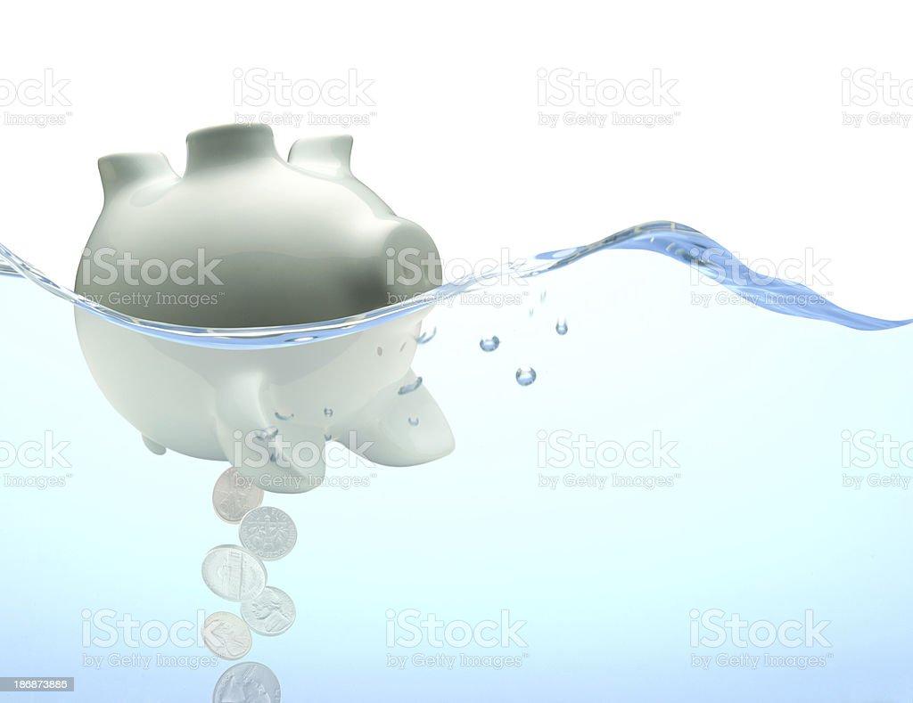 Capsized Piggy Bank royalty-free stock photo