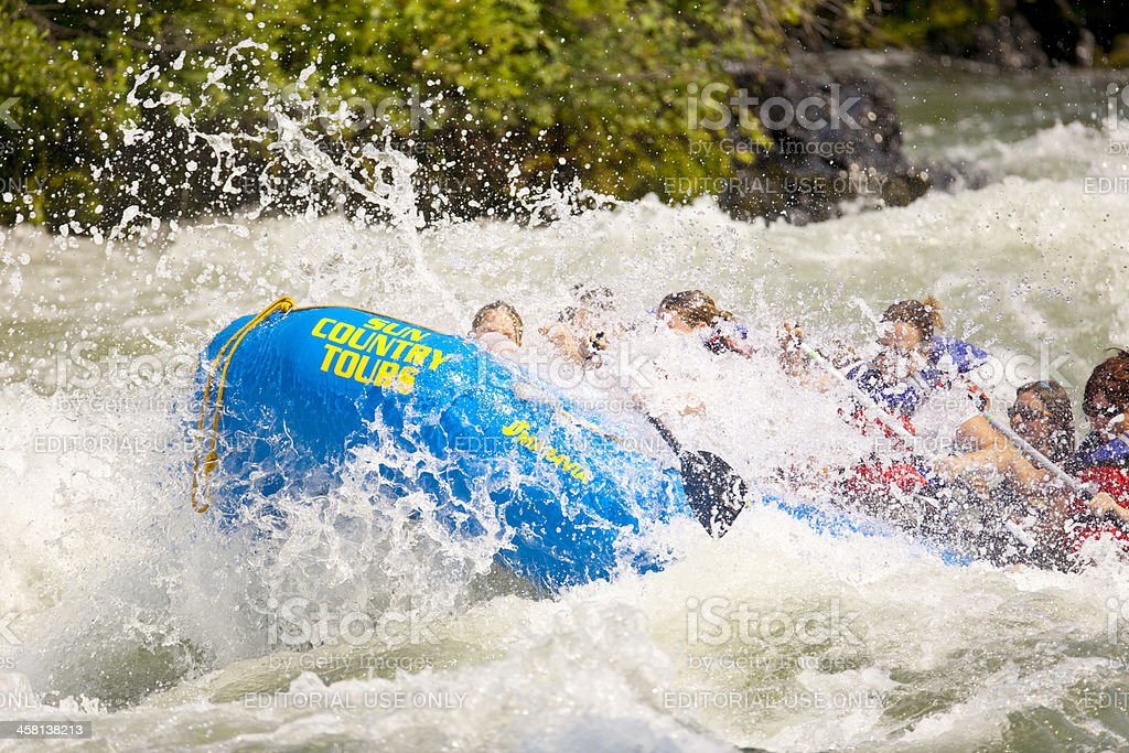 Capsizing Riding the Rapids. royalty-free stock photo