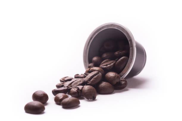 Capsule coffee beans stock photo