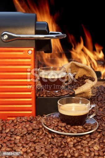 Capsule Coffee Machine and two coffee cup with espresso XXXL