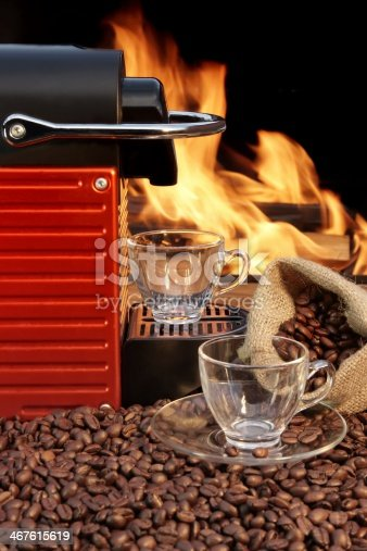 Capsule Coffee Machine and two empty glass coffee cup XXXL