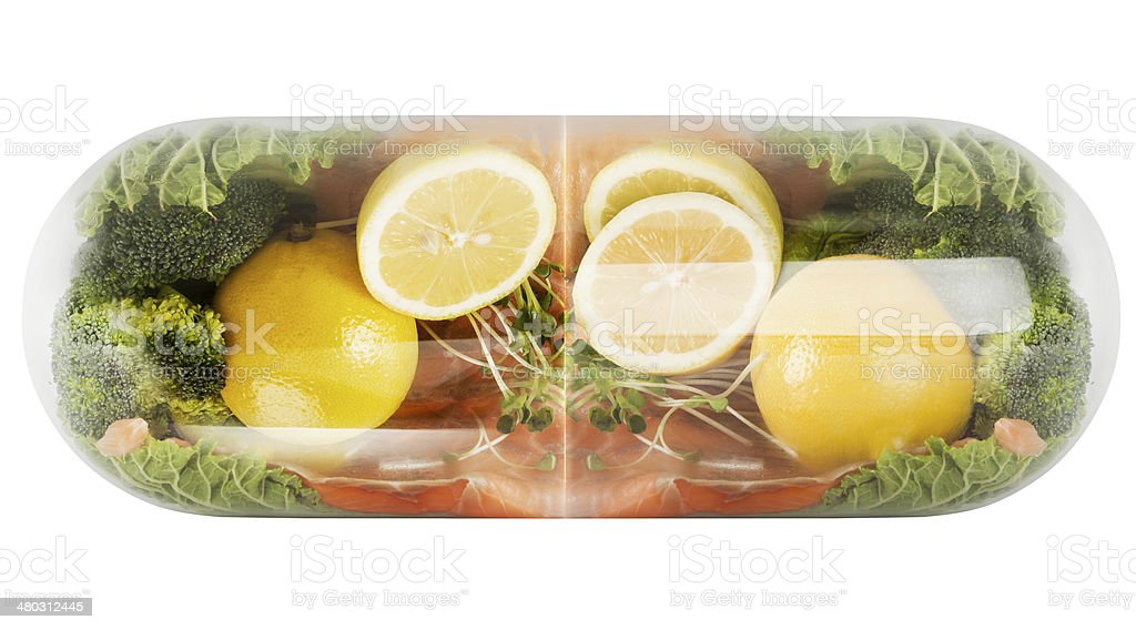 capsule in salmon stock photo