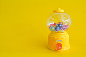 Capsule toy abstract minimal yellow background