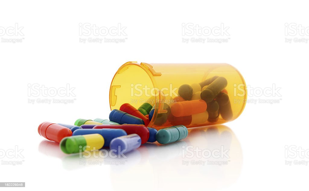 Capsules in a bottle royalty-free stock photo