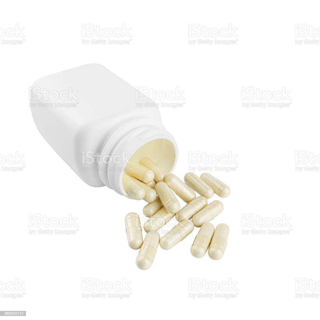Capsules of glucosamine chondroitin, healthy supplement pills and white container isolated on white background foto stock royalty-free