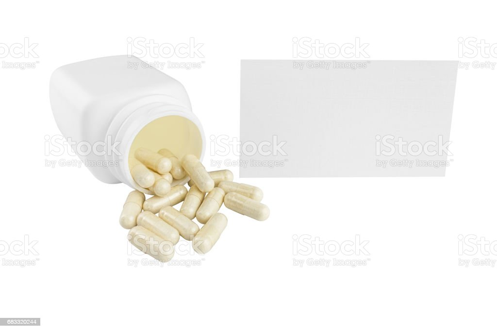 Capsules of glucosamine chondroitin, healthy supplement pills, white container and paper card isolated on white background zbiór zdjęć royalty-free